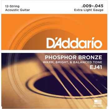 D´addario EJ41 12-String Phosphor Bronze cuerdas para guitarra acústica